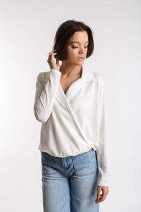 Ecru Elegant Envelope Blouse with Collar