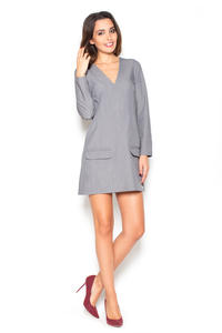 Grey Flared 3/4 Sleeves V-Neckline Mini Dress