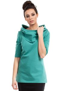 Green Long Hooded Blouse