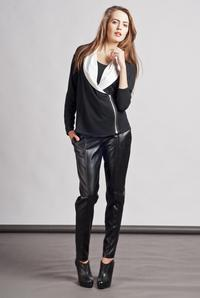 Black Unique Big Collar Zipper Closure Cardigan
