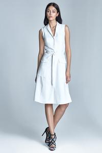Ecru Sleeveless Flared Shirt Dress