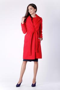 Red Belted Coat Knee Length
