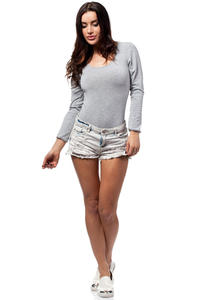 Grey Plain Body Suit with Long Sleeves