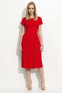 Red Short Sleeves Casual Midi Dress
