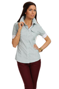Slim Fit Seam Collared Green Shirt with Flap Chest Pocket