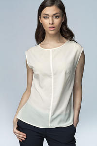 Off White High Neck Sleeveless Blouse with Curved Hemline