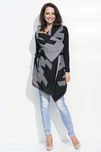 Black&Grey Geometric Pattern Belted Cardigan
