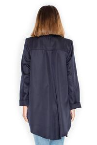 Dark Blue Loose Lapels Light Spring Coat
