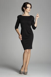 Black Bateau Neck Sheath Dress with Long Sleeves