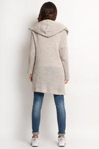 Beige Long Hodded Cardigan with Pockets