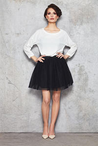 Black Sheer Gathered Short Skirt with Lining