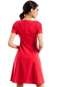 Red Flared Short Sleeves Dress with Front Pockets