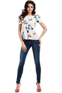 Ecru Butterfly Pattern Short Sleeves Blouse