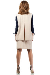 Beige Ladies Vest with Pockets and Belt