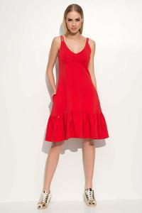 Red Spaghetti Straps Frilled Dress