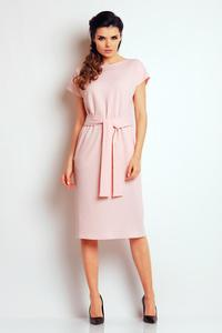 Light Pink Classic Belted Midi Dress