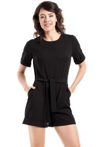 Black Short Sleeves Belted Summer Jumpsuit