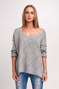 Grey Ajure Pattern Oversize Sweater