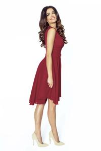 Elegant Maroon Chiffon Dress With Bow