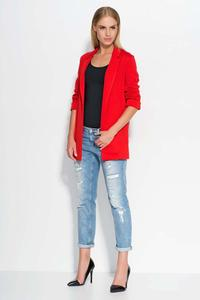 Red Casual Long Ladies Blazer