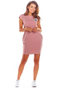 Pink Knitted Mini Dress with Pockets