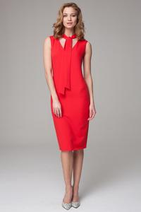 Red Slim Fit Midi Dress with Self Tie Scarf