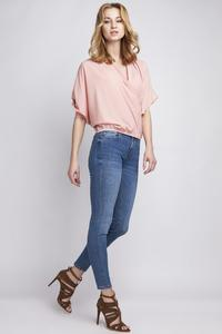 Pink Wrap Neckline 3/4 Sleeves Blouse