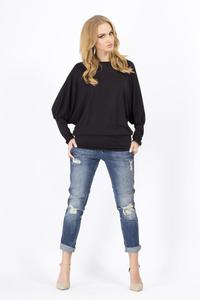 Black Casual Long Bat Sleeves Blouse