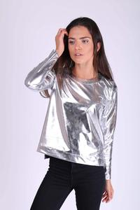 Silver Simple Blouse with Shimmering Fabric