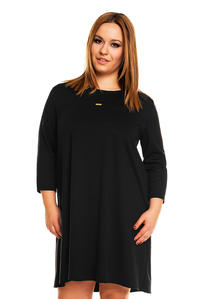 Black 3/4 Sleeves Swing Dress PLUS SIZE