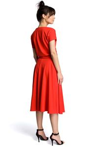 Red Midi Flared Dress Tied at the Waist