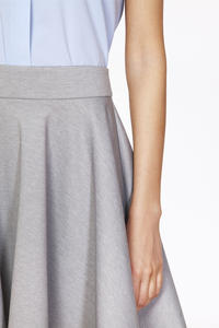 Grey Delicate Pleats Flared Skirt