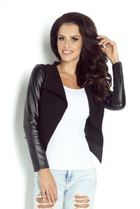Black Eco-Leather Short Bolero Blazer