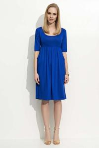 Blue 3/4 Sleeves Midi Dress