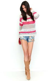 White and light gray Raspberry Openwork Sweater with Colorful Stripes