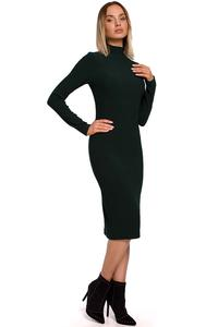 Fitted Midi Dress with Turtleneck (Green)