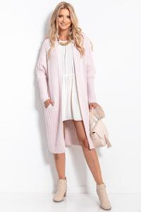 Ribbed Long Cardigan without Clasp (Powder)