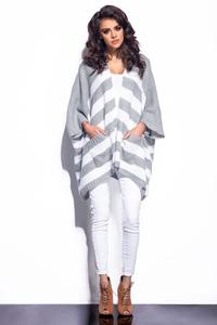 Light Grey&White Striped Loose Cut Cardigan