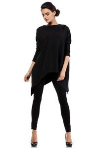 Black Oversized Asymetrical Hooded Blouse