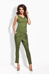 Khaki Tapered Legs Self Tie Bow Ladies Jumpsuit