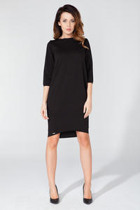 Black Classic Plain 3/4 Sleeves Knee Length Casual Dress