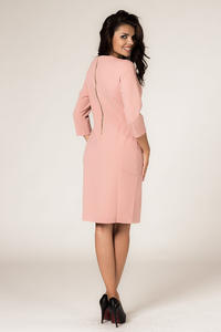 Powder Pink Seam Shift Dress with Back Zip Fastening