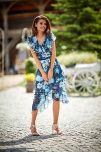 Nevy Blue Envelope Dress Midi in Flowers with a frill