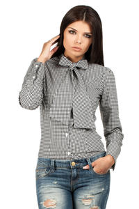 Black Pussy Bow Collar Pinstripe Girly Shirt