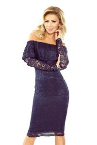 Dark Blue Bodycon Lace Dress with Spain Style Neckline
