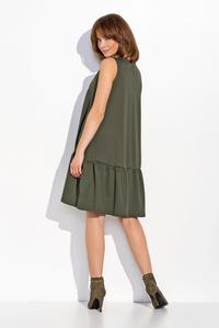 Khaki Sleeveless Drop Waist  Swing Dress