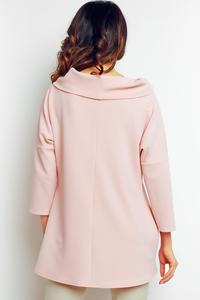 Pink Elegant Wide Tourtleneck Blouse