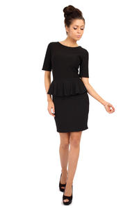Black Bateau Neck Shift Dress with Frilled Bodice