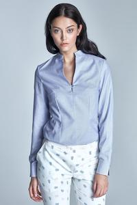 Blue Long Sleeves Stand-up Collar Shirt