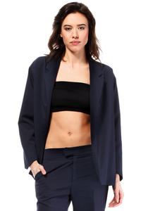 Dark Blue Loose Fit Classic Style Blazer